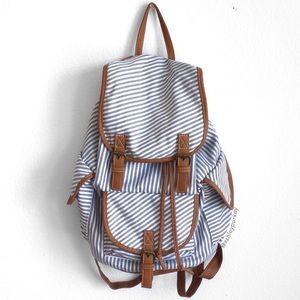Blue and white striped brown trim backpack